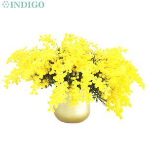 INDIGO-5 PCS Plush Australia Acacia Yellow Mimosa Spray Cherry Artificial Wedding Flower Party Event Decor Free Shipping