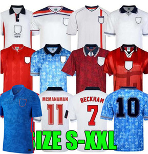 Inglaterra Retro Jersey 1982 1994 1998 2002 Shearer Beckham Jersey 1990 1989 Camisa de fútbol Gerrard Scholes Owen 1980 Heskey