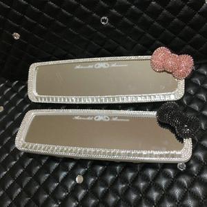 MUNIUREN diamant bowknot voiture Intérieur Rearview Mirror Décoration Cristal Car RETROVISEUR Filles Accessoires Auto Dashboard Q6VV #
