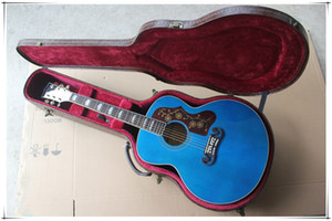 Factory Blue Hollow Body Acoustic Guitar with Golden Tuners,Rosewood Fretboard,Body Binding,Can be customized