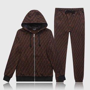 Men's suit long-sleeved sportswear jacket suit fashion running sportswear men's sports suit printed slim hoodie Medusa sportswea