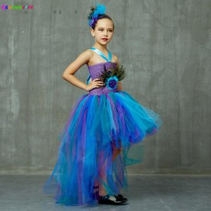 Peacock Tutu Costume Dress Child Girls Pageant Prom Ball Gown Princess Peacock Feather Halloween Birthday Party Train Dress