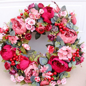 Wedding Artificial Wreath Autumn Red Peony Wreath Christmas Door Ornaments Wall Hanging Home Decoration