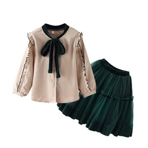 Girl bow Set 2020 Children's Clothing New big Children dresses+shirts 2 pieces Sets kid school Clothes Princess 3t-12 years