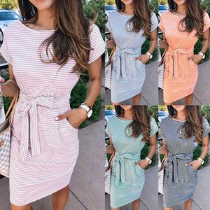 Summer casual striped ladies dress elegant T-shirt round neck short sleeve waist pocket black blue pink color dress