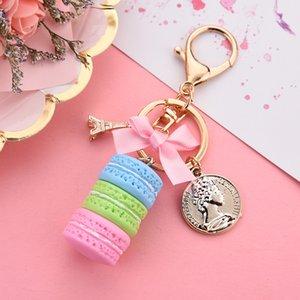 Bolo de moda Key moda cadeia de carro Key Anel Mulheres encanto do saco acessórios bolo Macarons com Torre Eiffel Keychain de presente da jóia