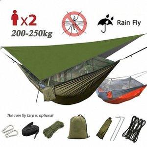 1-2 persona portable camping al aire libre hamaca con la red de mosquito de alta resistencia paracaídas Tela cama colgante Caza el oscilación que Honc #