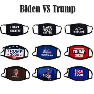 Байден VS Trump Face США Мужчины Женщины Выборы против пыли Модельер партии Black Lives Материя Я не могу дышать хлопок Маска DWC264