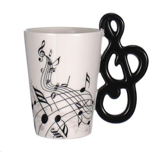 Creative Guitar Ceramic Cup Personality Music Note Milk Juice Lemon Mug Coffee Tea Cup Home Office Drinkware Unique Gift 300ml T200506