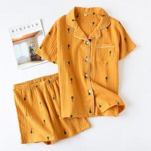 Yaz çift Havuç Şort ve şort erkek ve kadınlar için pamuklu pijama havuç kısa kollu pamuklu krep ev giysileri yıkanır