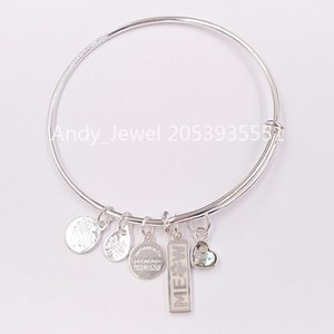 Authentic 925 Sterling Silver pendants Meow Duo Charm Charm Bangle Shiny Silver Fits European bear Jewelry Style Gift 100880700