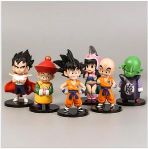 2020 6pcs set Cartoon Dragon Ball Z Fighting Form Super Saiyan Black Goku Vegeta Action Figure Collection PVC Model Kid Gift Toy