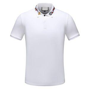 2020 designer stripe polo shirt t shirts snake polos bee floral embroidery mens High street fashion wild polo T-shirt