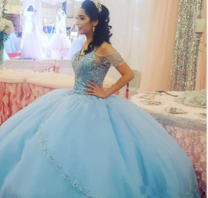 Light Sky Blue Ball Quinceanera Dresses 2020 Cap Sleeves Spaghetti Beading Crystal Princess Prom Dresses For Sweet 16-Year-Old Prom Gowns