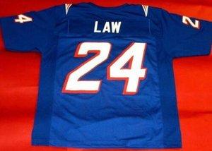 personalizzato Rare 1995 # 24 Ty Law Uomini Colore blu Bianco gioco Indossato RETRO Jersey College di Jersey il formato S-4XL o personalizzato qualsiasi nome o numero di maglia