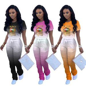 Tshirts Yuvarlak Yaka Casual 2pcs Harf Dudak Yaz Kadın eşofman SİYAH QUEEN Gradyan Kadın Tasarımcı 2PCS Yığın Pantolon