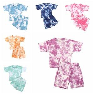 Vêtements pour bébé Tie Dye Vêtements Ensembles à manches courtes Pantalons T-shirt Costumes Garçons Filles vêtements décontractés Printemps Automne Bébé Vêtements Set LSK523 Gril