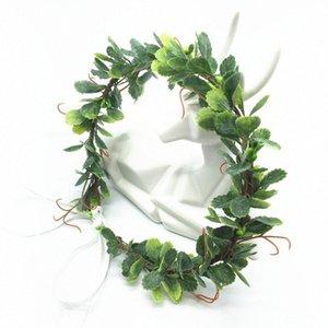 Fiesta de la boda Accesorios de la guirnalda verde de la hoja Cinta de cabeza coronas de las mujeres del pelo del tocado de la muchacha de flores guirnaldas florales Headwear o9JN #