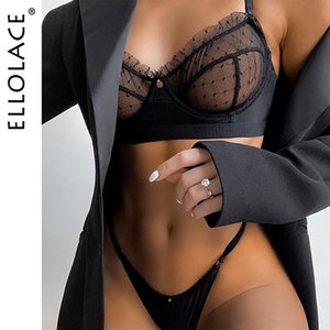 Ellolace Ruffle Lace Lingerie Set Sexy Women's Underwear Transparent Bra Party Sets Lace Black Lingerie Bra Set Underwear Set Y200710