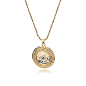 Evil Eye new fashion 50*50mm trendy Evil Eye Necklaces for Women Gold Color Necklace Women Girls Pendants Good Luck Gifts