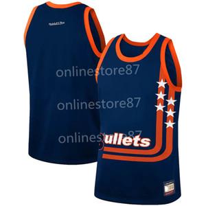 Vintage Mitchell Ness Washington Bullets Navy Laubholz-Jersey Fertigen Sie jede mögliche Name und digit Basketball Jersey