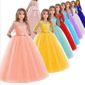 Teenager Girls Dress Lace Kids Wedding Dresses Ceremony Party Elegant Princess Dress Designer Children Clothes Boutique Kids Clothing DW4892