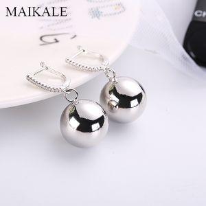MAIKALE Classic Drop Earrings Big Round Ball Pendant Gold Silver Color Copper Cubic Zirconia Fashion Jewelry Women Earrings Gift