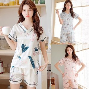 Women Imitation Silk Pajamas Set V-Neck Pullover Tops Shorts Floral Sleepwear Hot New
