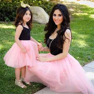 Matching família Vestidos Mãe Verão filha mangas Casual roupas de festa Outfits Mommy and Me malha vestido Tutu