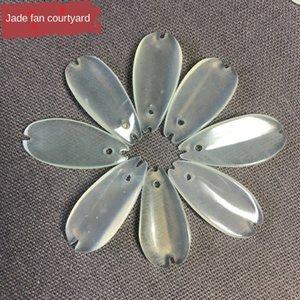 Sansheng Sanshi Shili şeftali çiçeği beyaz ışık aynı stil eardrop Xiuyu taç yaprağı kolye diy Yeşim Firkete el yapımı el yapımı kolye