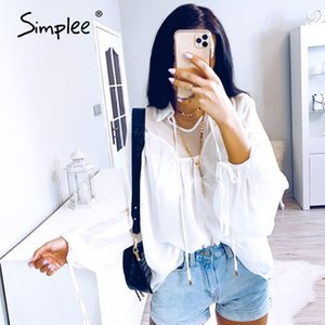 Simplee sexy mesh chiffon women blouse shirt casual lace up female top shirt Lantern sleeve white blouse summer 2020 tops shirt Y200622