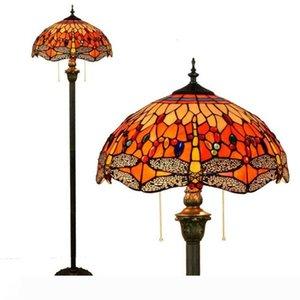 Tiffany libélula lámpara europea Stained Glass Floor Lamp Hotel Sala mano soldada Arte Lámpara TF016