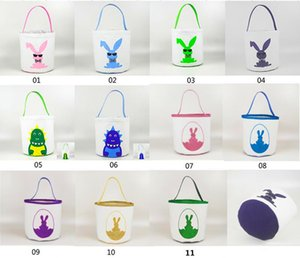 Easter Buckets Cute Printed Easter Bunny Cavas Basket kids Lucky Egg Baskets Child Candy Bags Holiday Fashion Kid Handbag Storage Bag INS