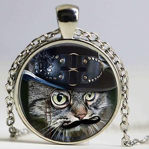 siyah kedi kolye kolye kedi takı cam cabochon kubbe kolye cabochon Toptan hayvan cam