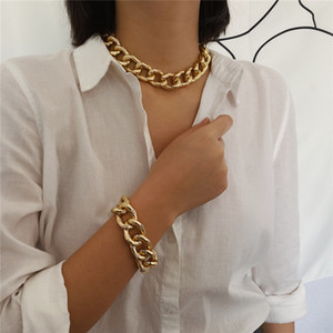 Punk Miami Curb Cuban Chunky Thick Choker Necklace Collar For Women Men Gold Color Heavy Metal Necklace bracelet set Jewelry