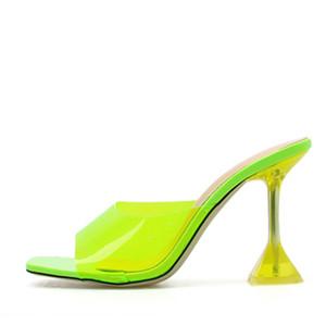 ABER Grün PVC-Gelee-Hausschuhe Kristall öffnen Zehe-Perspex Sike-Absatz-Kristallfrauen Transparent Sandaletten Pantoffeln Pumps