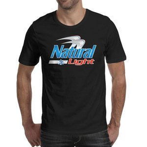 Fashion Mens Natural Light Beer Logo black Round neck t shirt Graphic Slim fit shirts Naturdays logo Strawberry Stereoscopic American