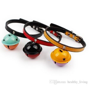 Adjustable PU Leather Double Color Bells Collar Little Dog Collars Cat Puppy Pets Supplies With Bell Lovely Decoration Pet Product 05