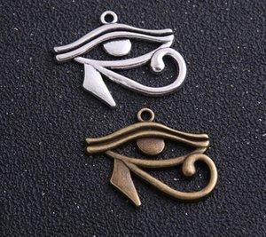 60pcs 26 * 32mm deux couleurs Rah Egypte Eye Of Pendentifs Charms égyptien Horus Collier Bracelet Making Bijoux