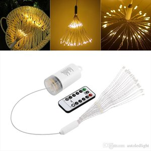 50pcs 150LED Battery Powered 8 Modes Copper Wire String Light Firework LED Starburst Lights with Remote Control for Home Garden Decoration