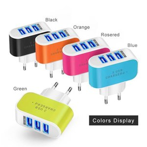 2020 100PCS US EU Plug 3 USB Wall Chargers 5V 3.1A LED Adapter Travel Convenient Power Adaptor with triple USB Ports For Mobile Phone