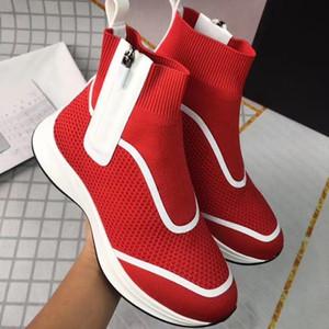 2020 Nova B25 alta-top moda branca preta de malha velocidade Formadores para as Mulheres Homens Knit Fabric Sock Sapatos Botas Side Zip com caixa