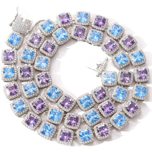 New high quality hip hop men's fashion jewelry necklace 10mm square color blue purple zircon necklace bling chain