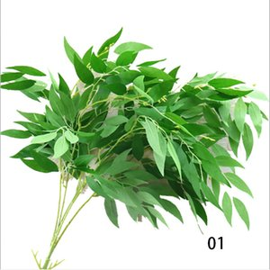 new arrival 6 colors silk Willow Leaves Artificial flower Leaves Tropical Plant office home wedding Plants Garden Home Office Decoration