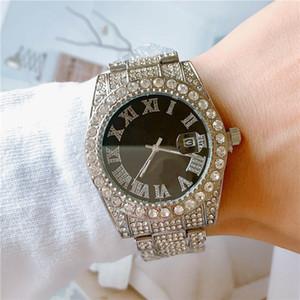 Venta caliente del diamante lleno heló hacia fuera el reloj de los hombres Bling de la manera Relojes cuarzo del acero inoxidable Movimiento Roma número del dial del reloj del deporte masculino