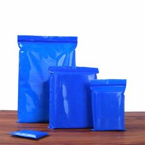 100pcs 5.1mil plástico azul zip lock saco Resealable zíper impermeável Jóias Colar Pulseira Embalagem Armazenamento