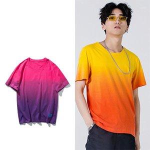 Tragen Gradient High Street Herren T-Shirts Sommer-Krawatte Die lose Unisex-T-Shirt lässig entspannt Paare
