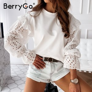 BerryGo Casual white cotton women work blouse shirt Fashion shirt hollow out long sleeve blouse O-neck summer blusas 2020
