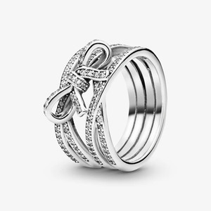 Beautiful Sparkling Ribbon and Bow Ring Clear CZ Jewelry for Pandora 925 Sterling Silver Wedding Rings with Original box for Women