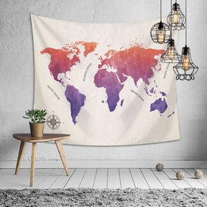 Retro World Map Wall Hanging Tapestry Beach Towels Blanket Yoga Mat Home Wall Carpet Decor